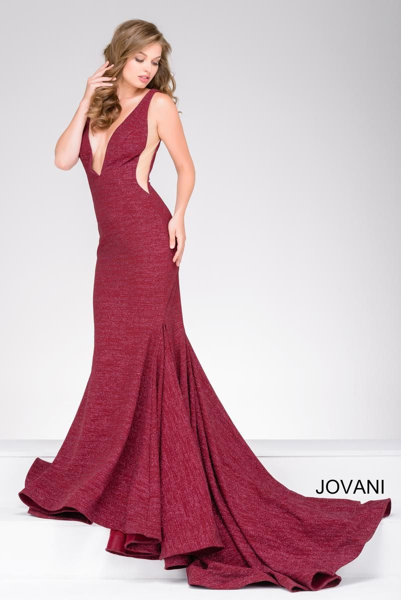 Wine Fitted Plunging Neckline Prom Dress Jovani Prom Style 47075
