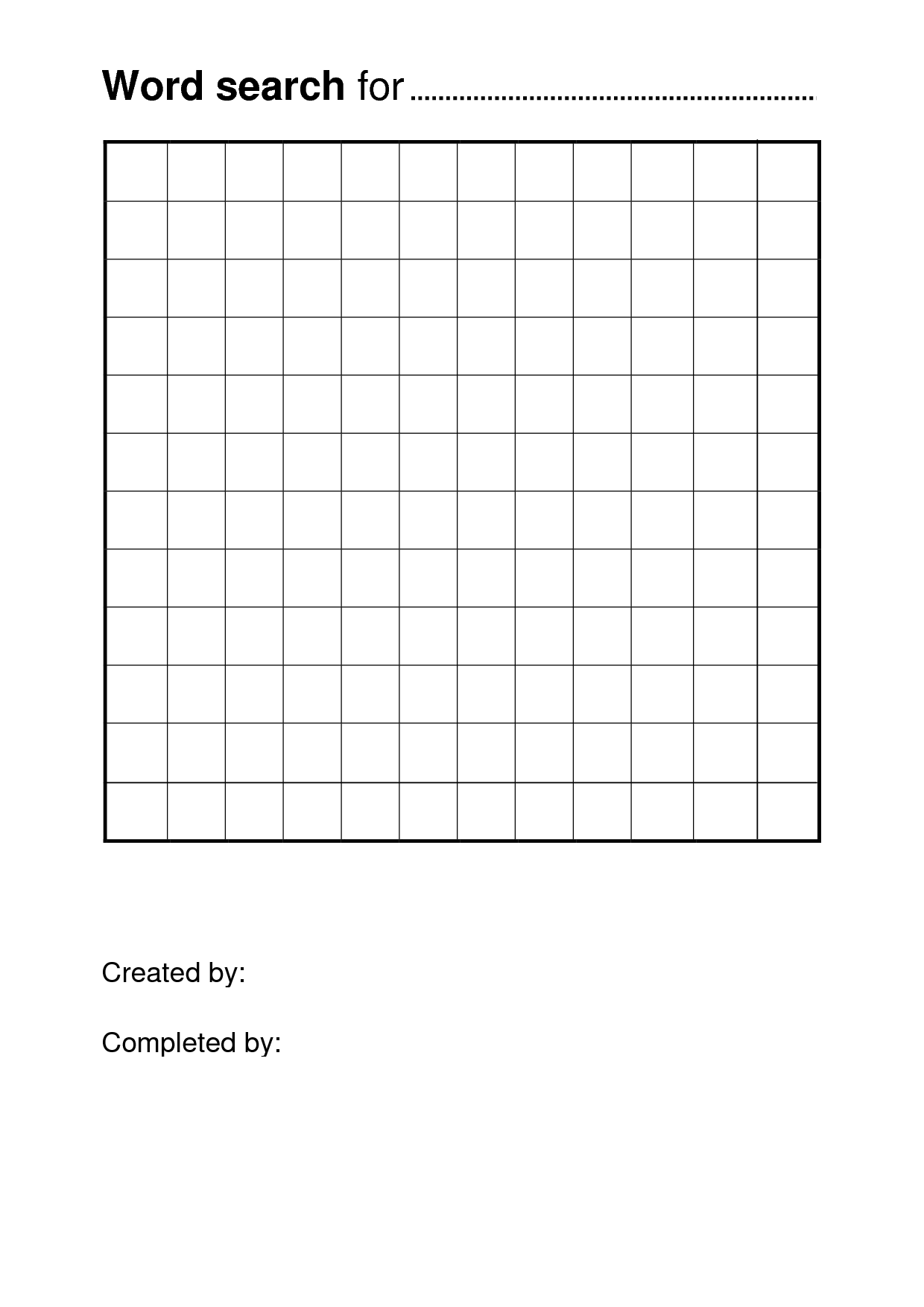 Printable Word Search Template