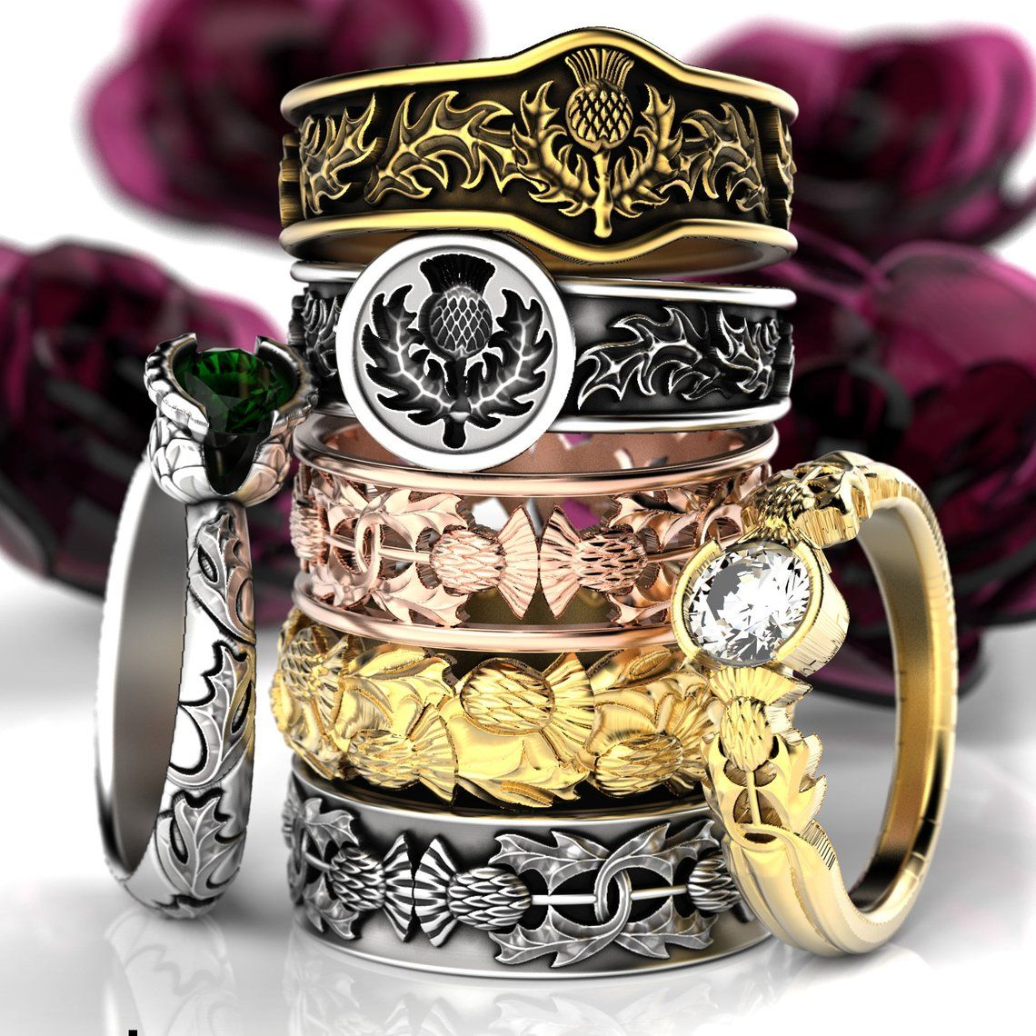 Scottish Thistle Jewelry, 925 Sterling Silver Thistle Ring