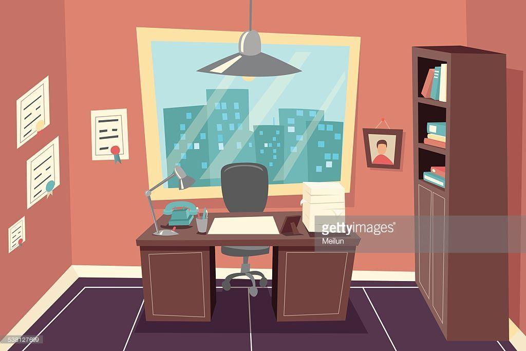Stylish Business Working Office Vintage Room Background Desk City