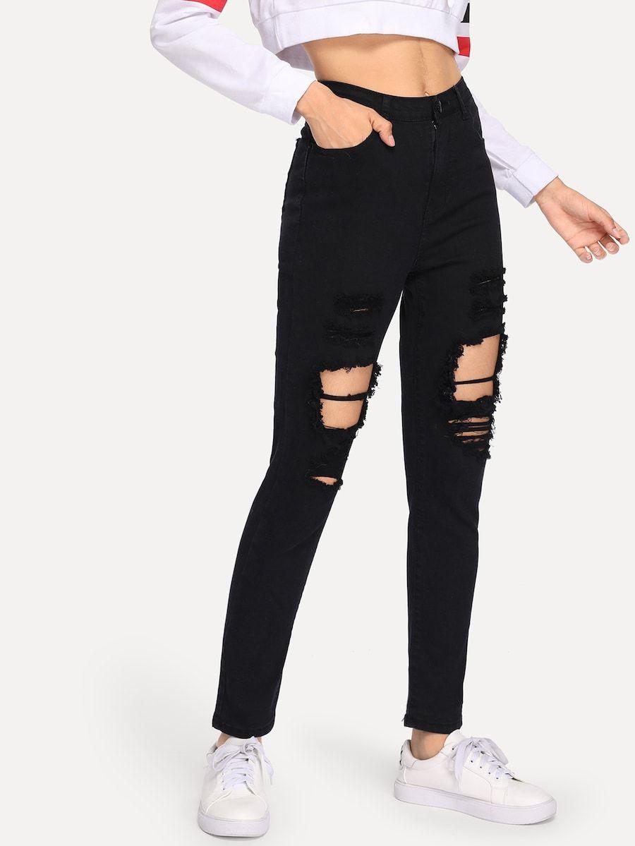 Ripped Solid Jeans Shein Sheinside Pantalones De Moda Jeans De Moda Ropa Para Ninas Fashion