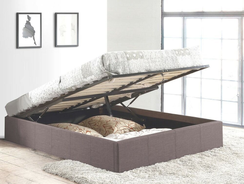 Details About Grey Fabric Upholstered Gas Lift Storage Bed Frame