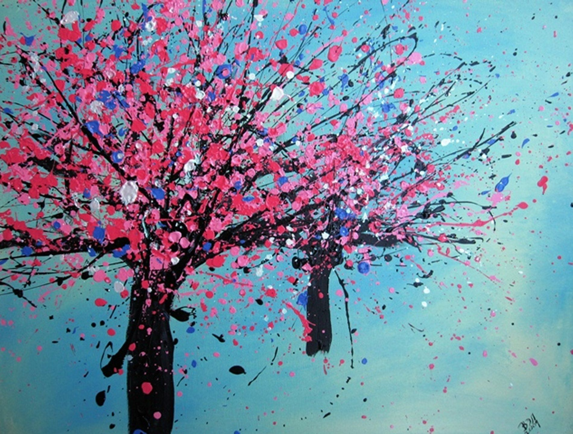 Hd Tree Painting Wallpaper Free -80809 Draw Paint Inspire Create In 2019