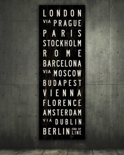 CITIES OF EUROPE Bus Roll. Bus Scroll. Canvas 20.5 x 60 ($100-200) - Svpply