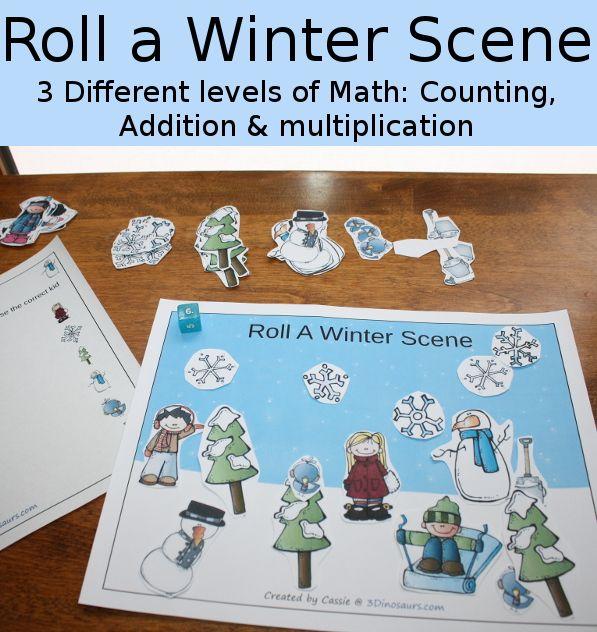 Fun Math: Roll a Winter Scene | Fun math, Multiplication and Math