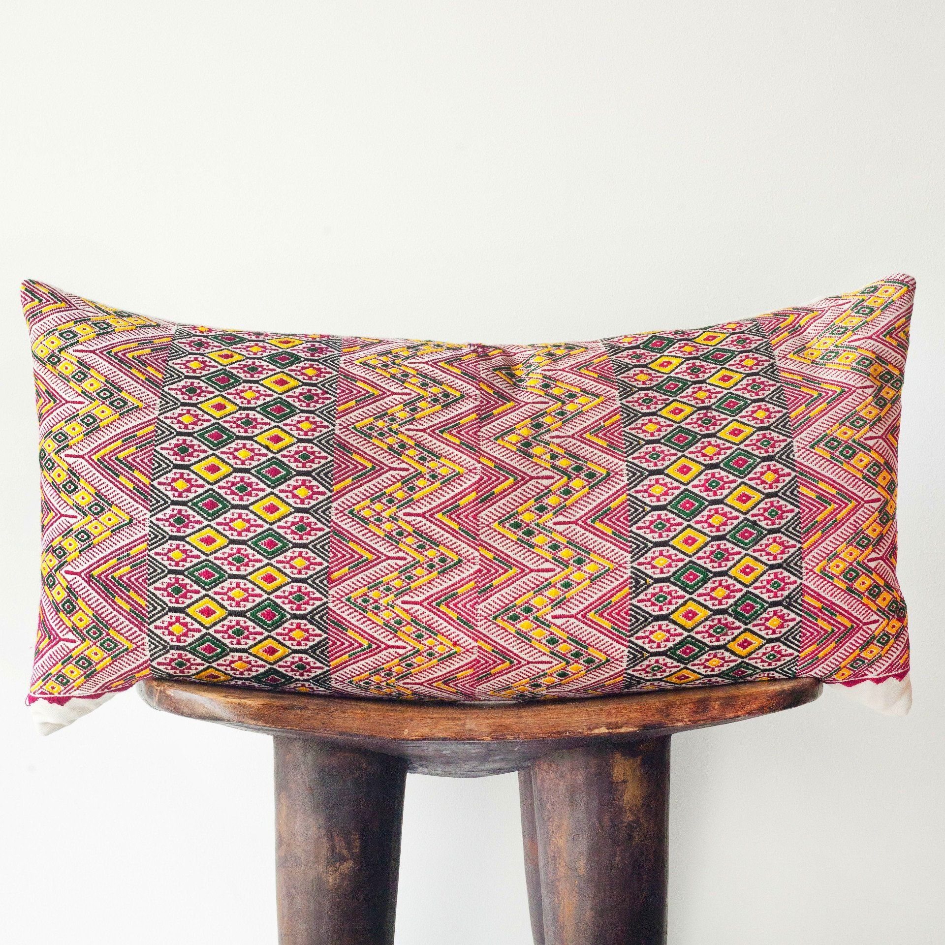 HUIPIL Pillow Red Gold + Green Red gold, Pillows, Red