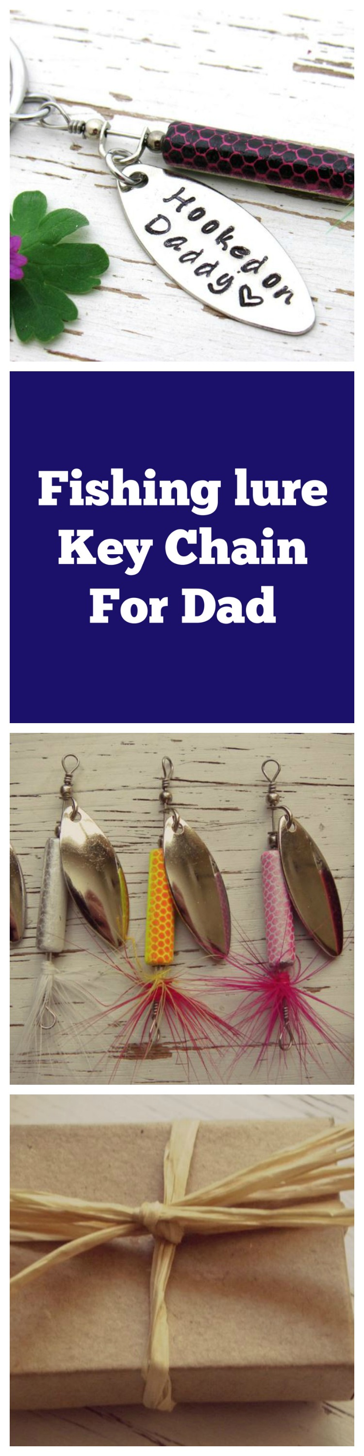 Hooked on Daddy fishing lure key chain - gifts for daddy - new dad ...