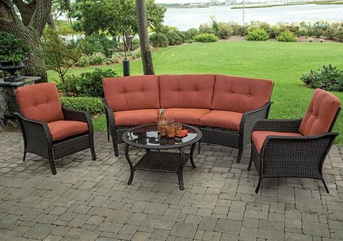4 Piece Crescent Woven Seating Collection At Menards Patio Furniture Collection Outdoor Furniture Sets Sterling Homes