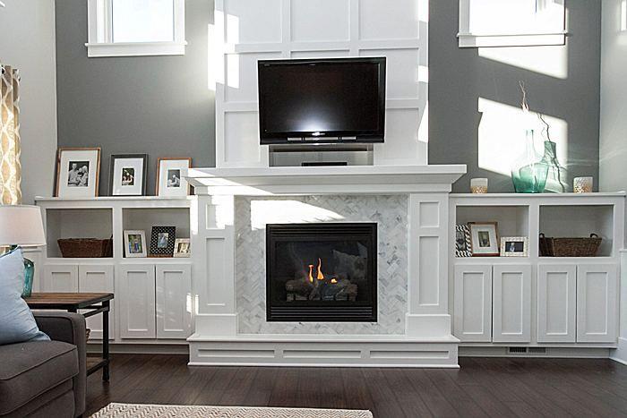 2 Story Fireplace With Custom Marble Herringbone Surround Caliber