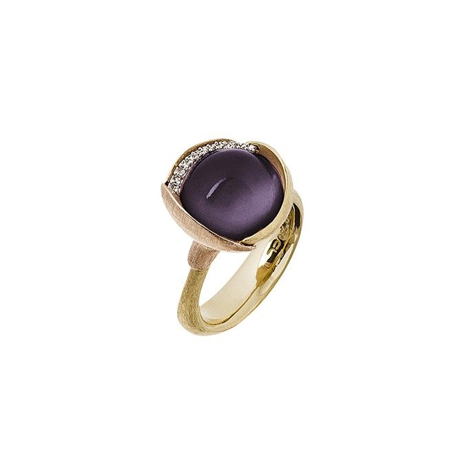 Lotus ring in 18K yellow gold with amethyst and diamonds TW.VS - Rings | OLE LYNGGAARD COPENHAGEN