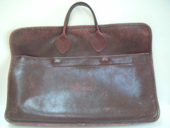 Vintage L Bean Brief Case Attache Computer Bag Leather Freeport Maine Plus A Folder Rustic And Rugged