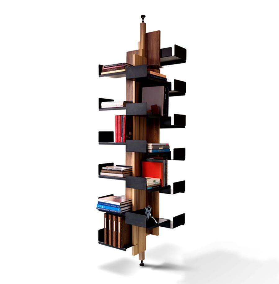 modern rotating pole storage and bookshelf | home decor that i