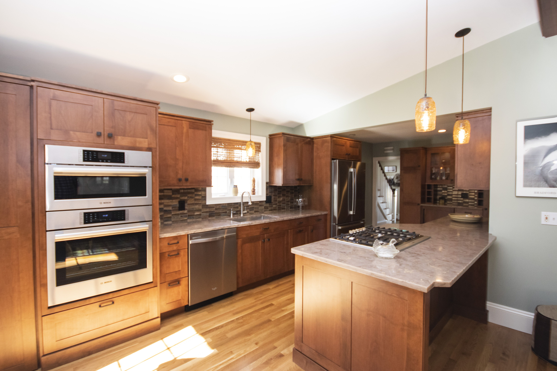 Dark Wood Kitchen Remodel Mosaic Kitchen Backsplash Bar In Kitchen Ri Kitchen Cabinets Ri Kitchen Remodels Double Ov Kitchen S Kitchen Projects Kitchen Island