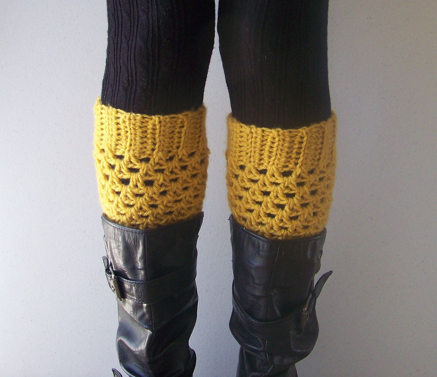Crochet Boot Cuffs in Mustard - Boot Socks, Leg Warmers, Boot ...