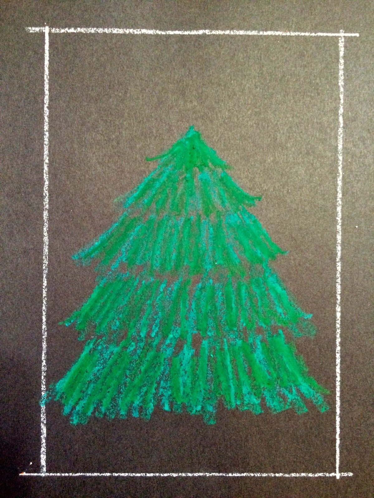 Kathy S Angelnik Designs Art Project Ideas Oil Pastel Christmas Tree In A Snowstor Christmas Tree Drawing Easy Christmas Art Projects Christmas Tree Drawing