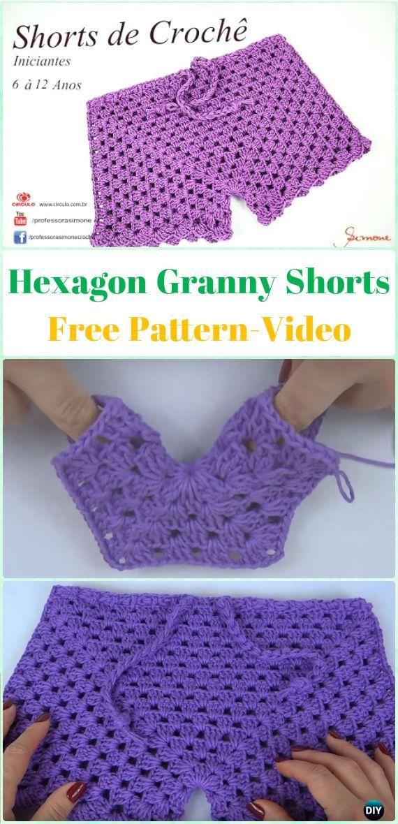 Crochet Hexagon Granny Shorts Free Pattern Video Crochet Summer