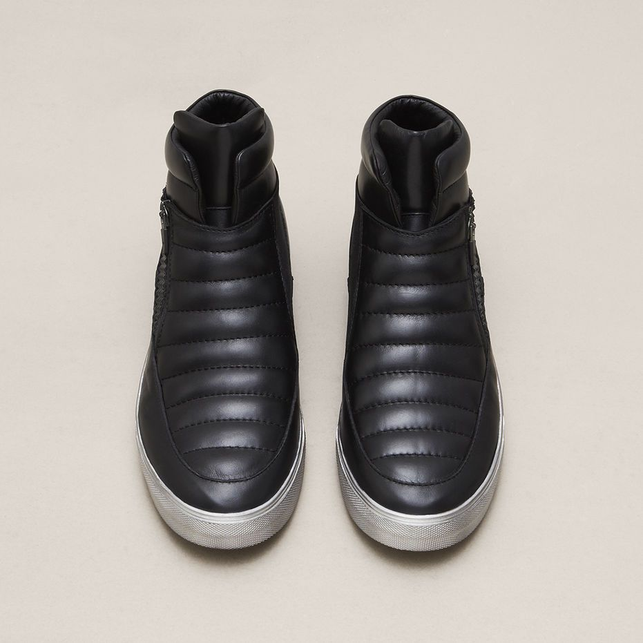 Forest Hill High-Top Leather Sneaker, BLACK