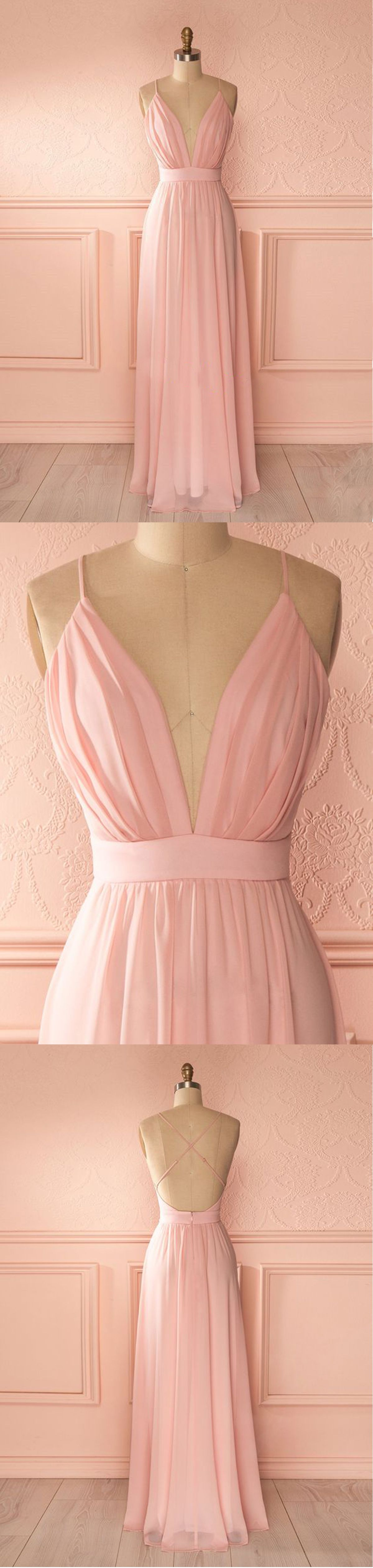 Chiffon prom dresses cute pink long prom dress with straps prom