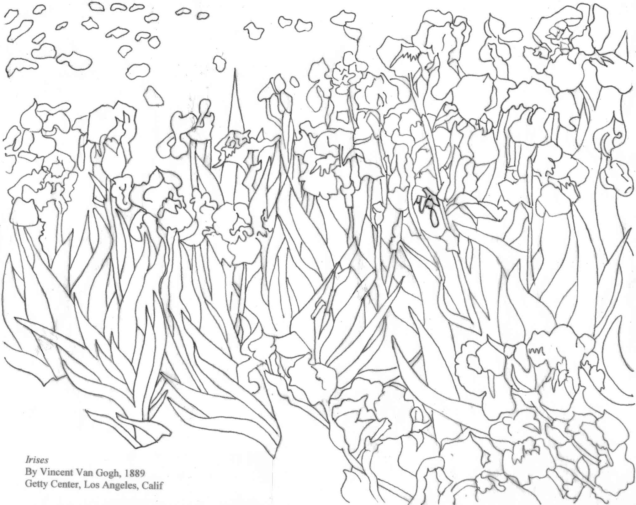 Van Gogh S Irises Coloring Page With Images