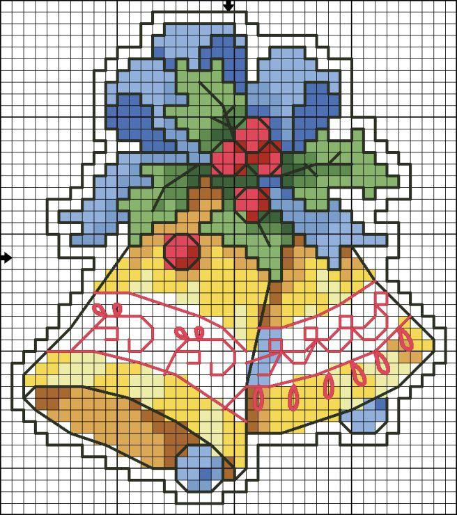 Campanas de navidad en punto de cruz