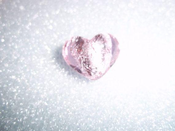 Pink foil glass bead heart shape  Now 50 by JewelryStatements, $2.25