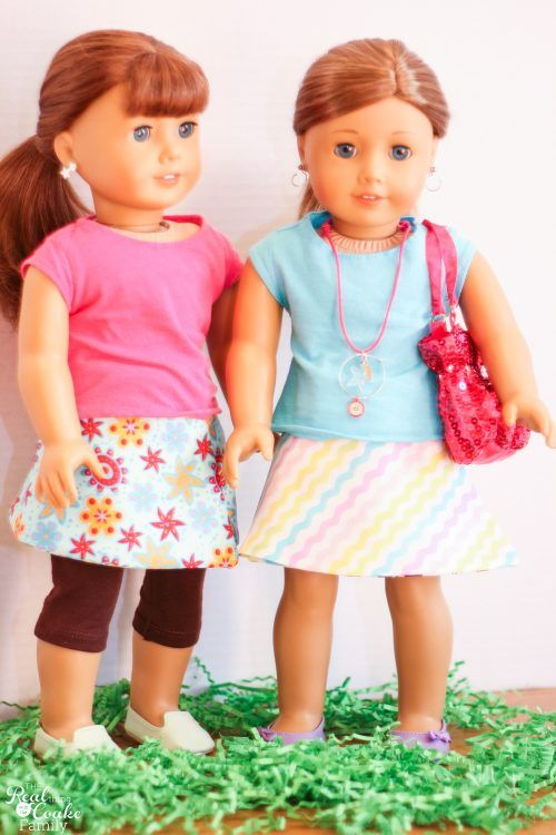 Free Doll Clothes Pattern to make a reversible wrap skirt | Pinterest