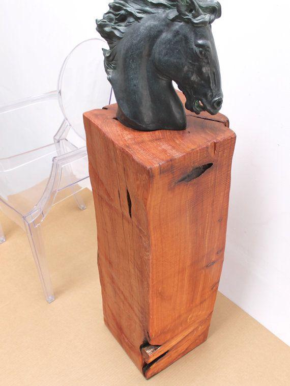 Reclaimed Timber Pedestal Art Sculpture Stand Display Russet