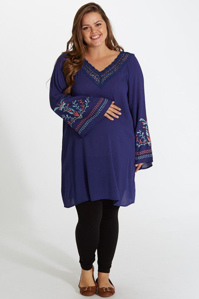 65c10ae19813d A delicate crochet v-neckline featured on this linen plus size maternity  tunic gives you just the right eye-catching detail while the embroidered  bell ...