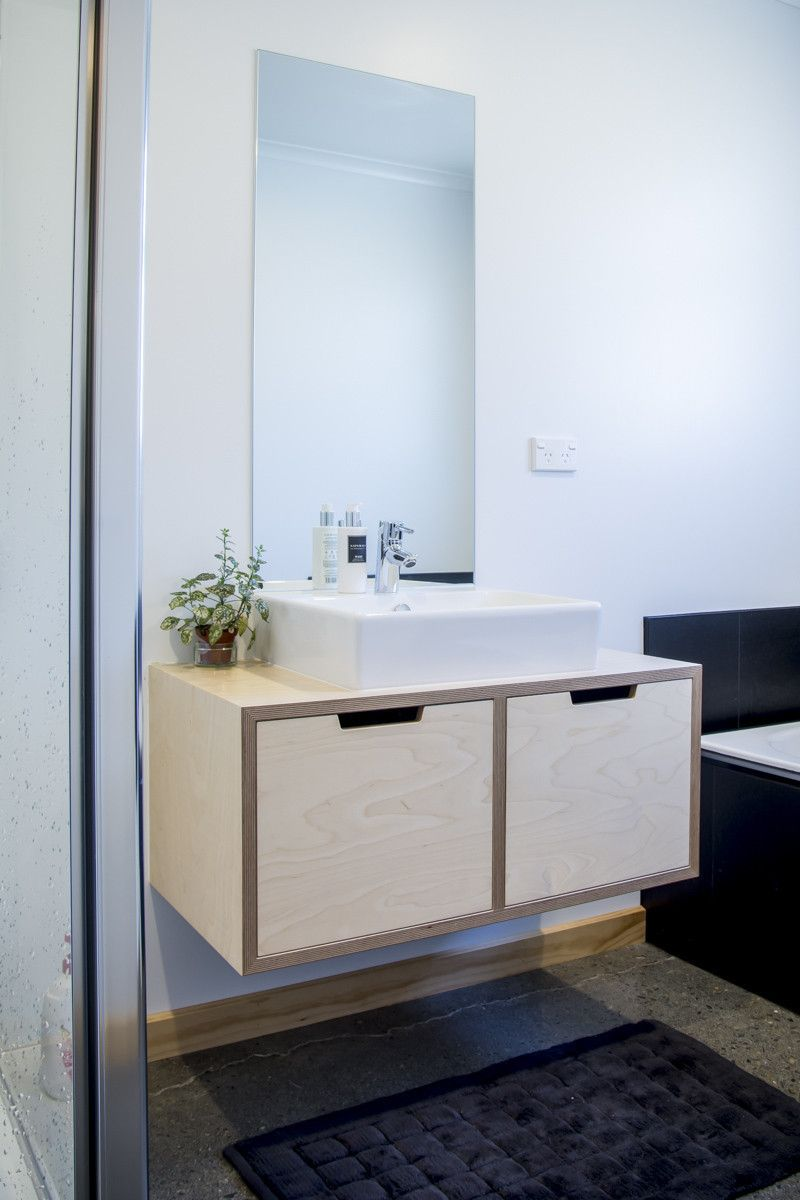 Photos On Birch Plywood vanity wall hung with top mounted basin made in Nelson NZ