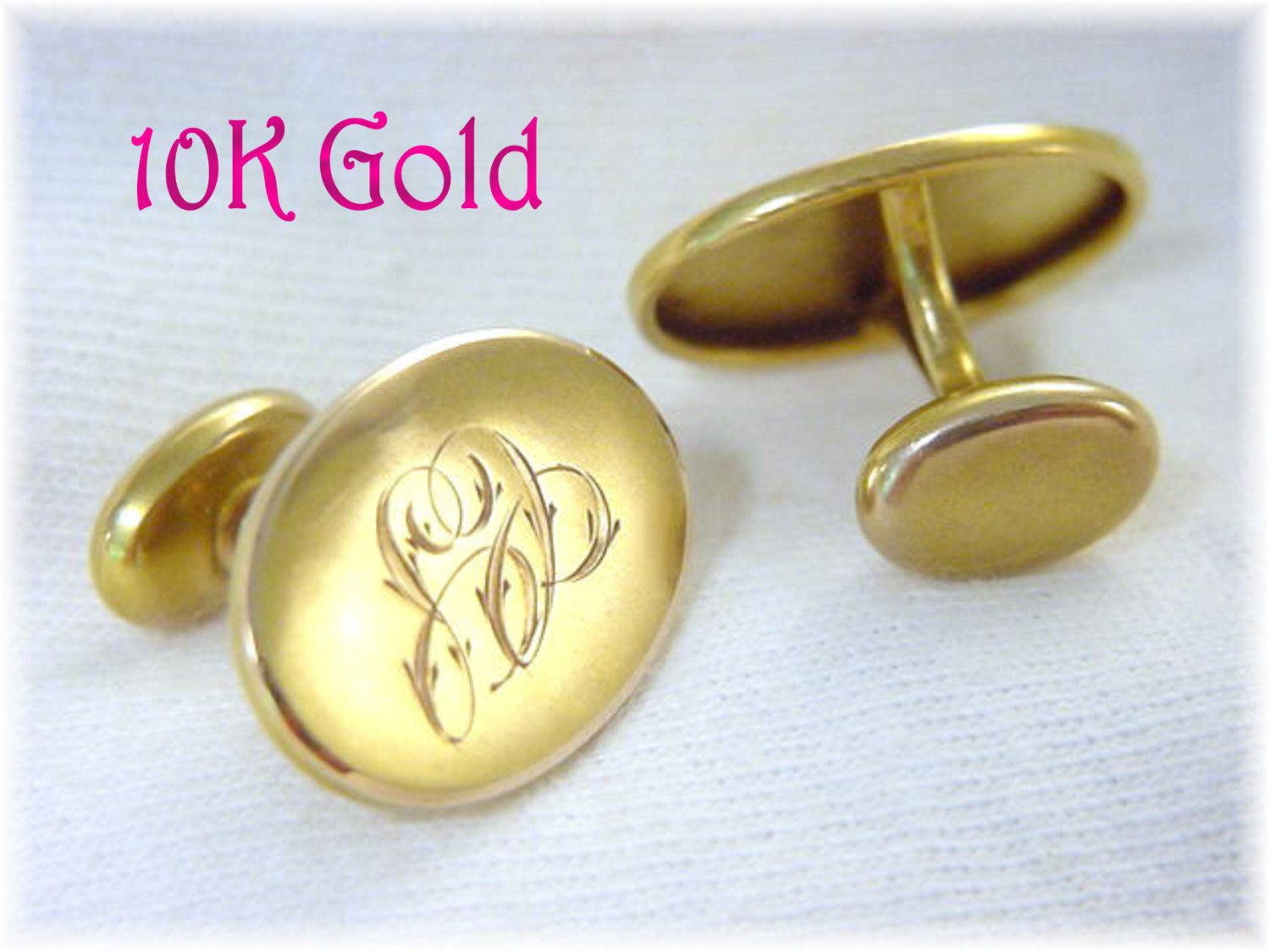10K Gold - Art Nouveau Oval Monogrammed Initial Cuff Links Cufflinks - Script Engraved C S - Gift Boxed -  Estate Antique - FREE SHIPPING