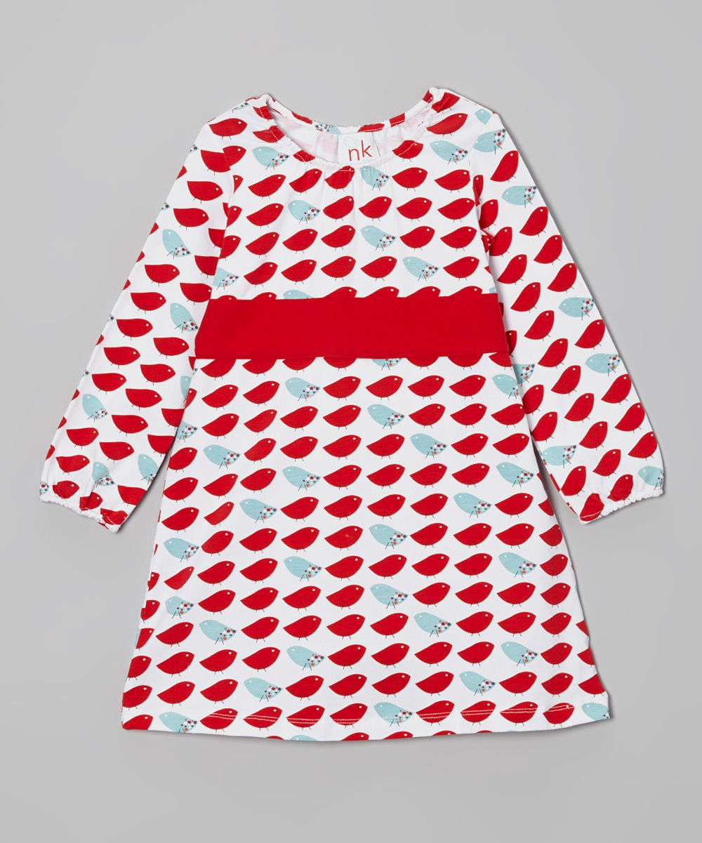 Red u blue bird sash dress infant toddler u girls nktoo by nohi