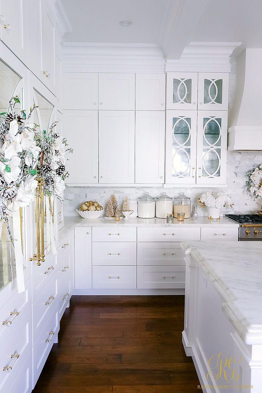 White And Gold Christmas Kitchen Randi Garrett Design Gold Kitchen White Kitchen Decor Home Decor Kitchen