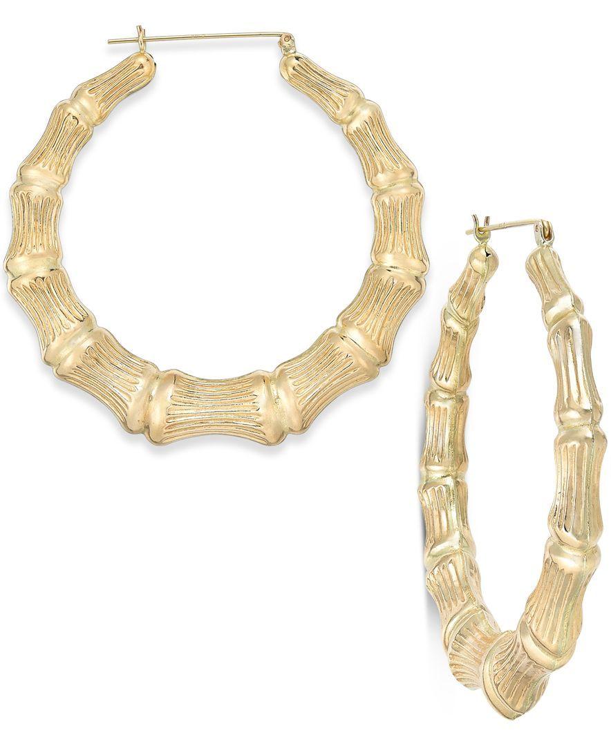 Bamboo Style Hoop Earrings In 10k Gold Earrings Earrings