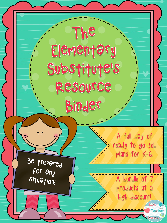 Substitute Teacher Elementary Resource Binder Sub Plans