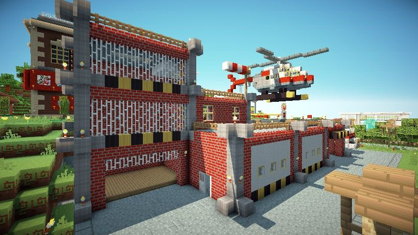 Fire Truck And Fire Station Minecraft Project Minecraft Projects Minecraft House Designs Minecraft Architecture