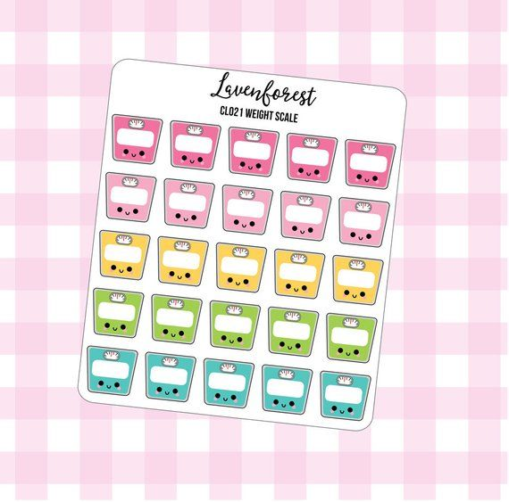 weight tracker stickers, scale stickers, weight planner stickers, fitness stickers, fitness planner...
