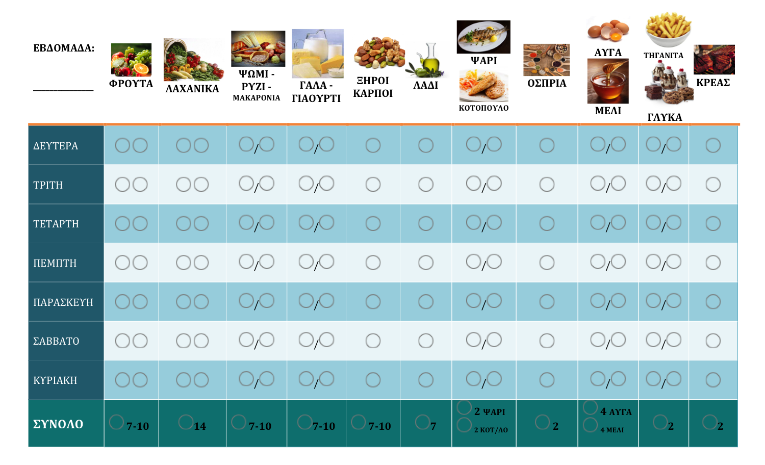 """Weekly Healthy Food Chart: I created it for my son based on the Mediterranean Food Pyramid. He loves ticking the boxes and realizes himself his """"healthy"""" food intakes. It works! Feel free to use it as well"""