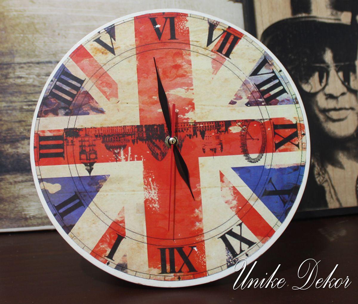 Jam dinding unik gambar bendera inggris depan Jam