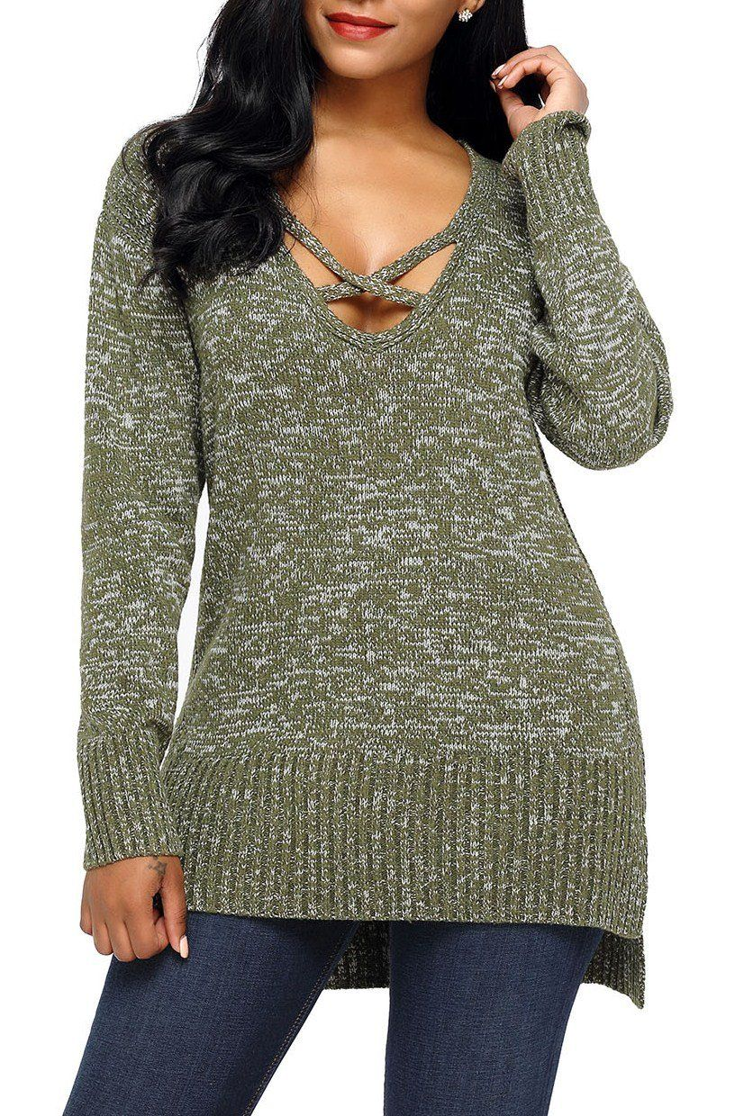c92a6b0cb Army Green V Neck Crisscross Knit Sweater modeshe.com  Green  girl  chic   style  beautiful  occasion  sweaters
