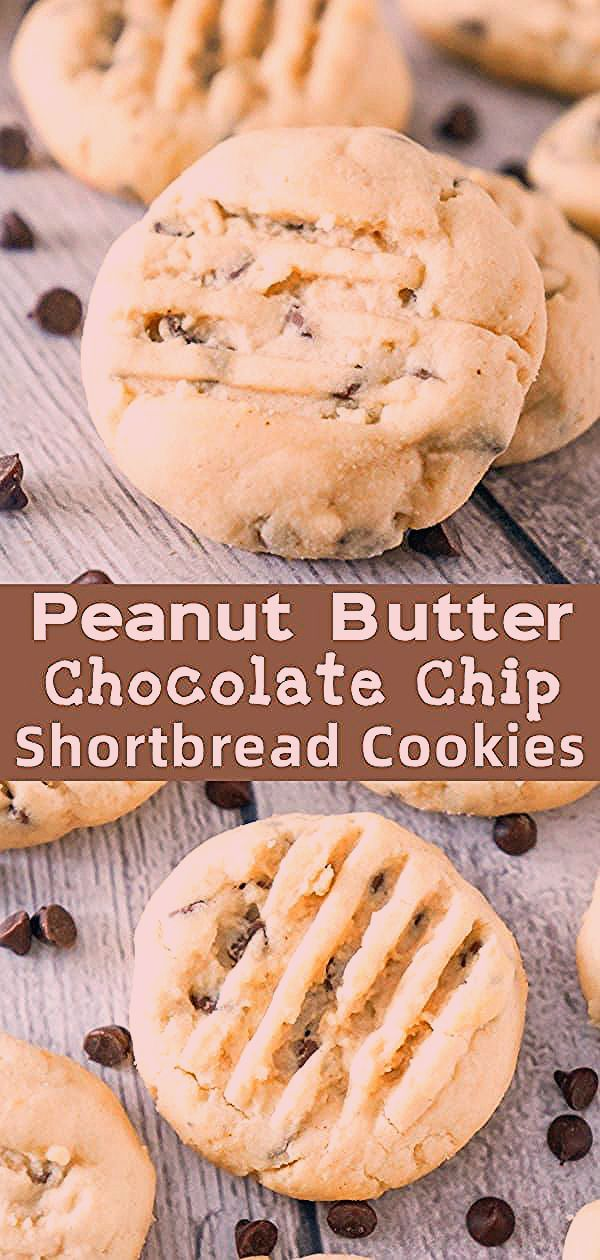 Peanut Butter Chocolate Chip Shortbread Cookies are delicious whipped shortbread cookies loaded with smooth peanut butter and mini chocolate chips. #whippedshortbreadcookies