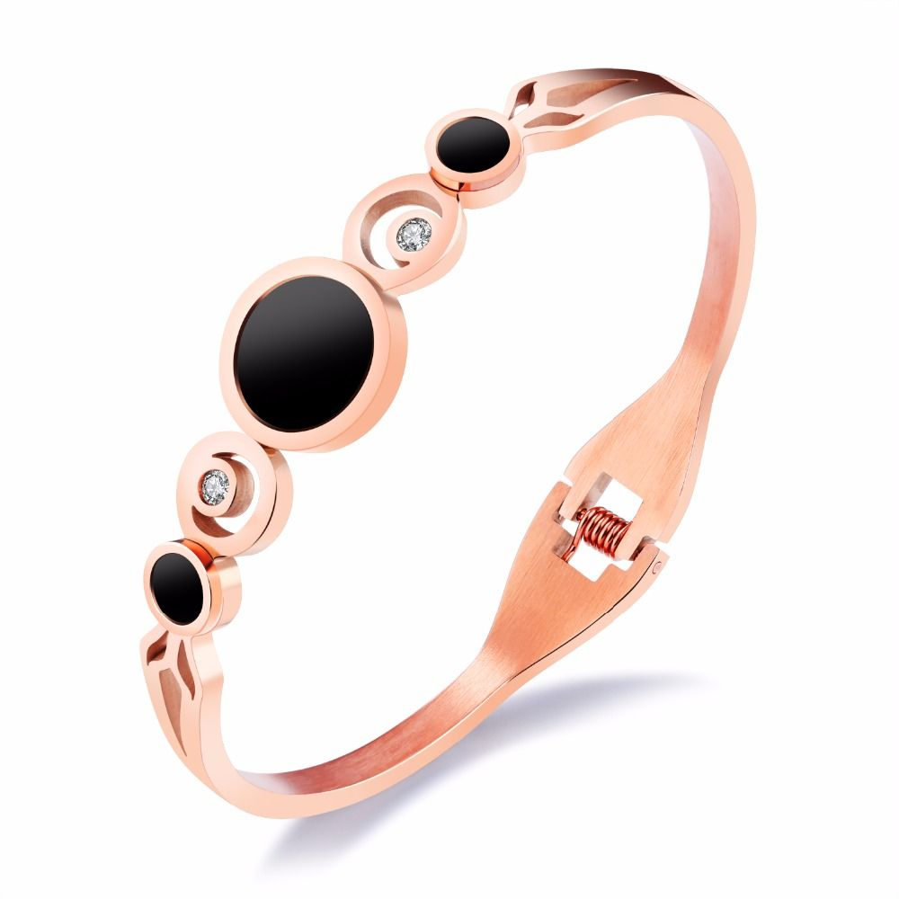 Luxurious open bangles u bracelet for women colors inlaid zirconia