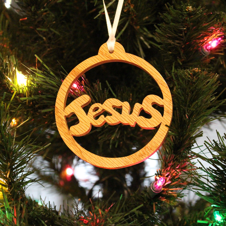 Ornament Jesus Oak Artesanato Em Madeira E Artesanato