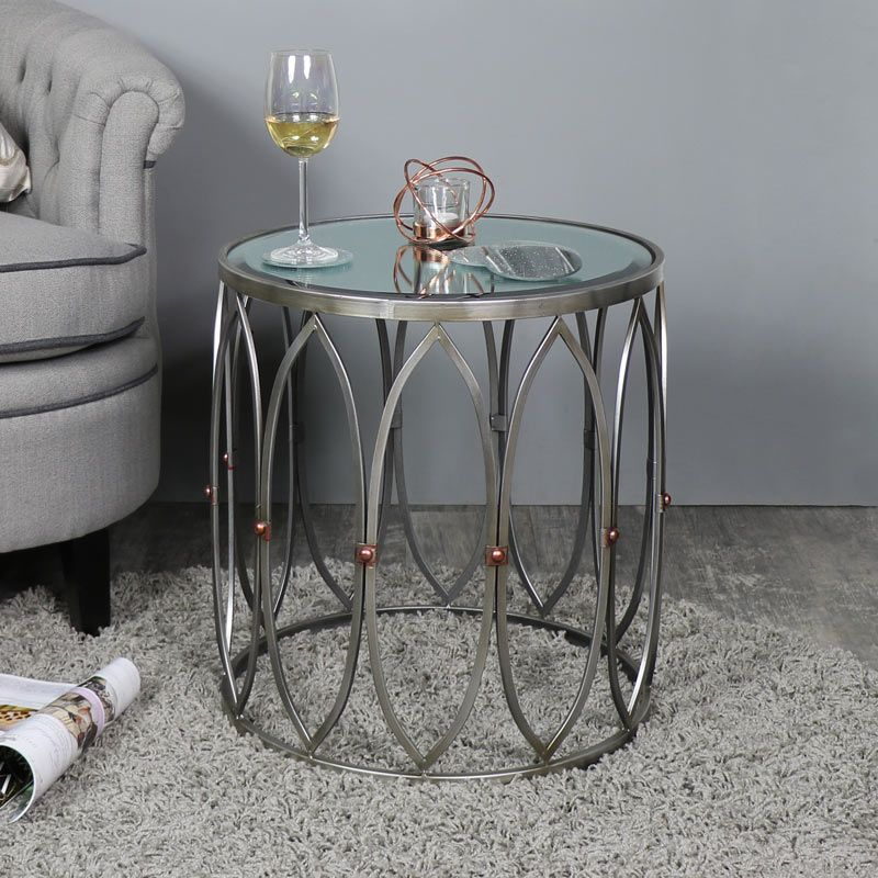 Antique Silver Mirrored Side Table With, Silver Mirror Side Table