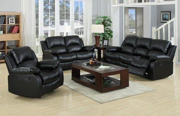 3 Piece Black Leather Living Room Set Light Blue Wallpaper Myco Furniture Kaden Bonded 1075 Blk 3set
