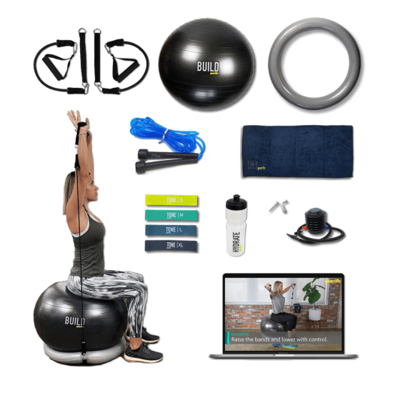 Exercise Ball with Resistance Bands & Stability Base Home