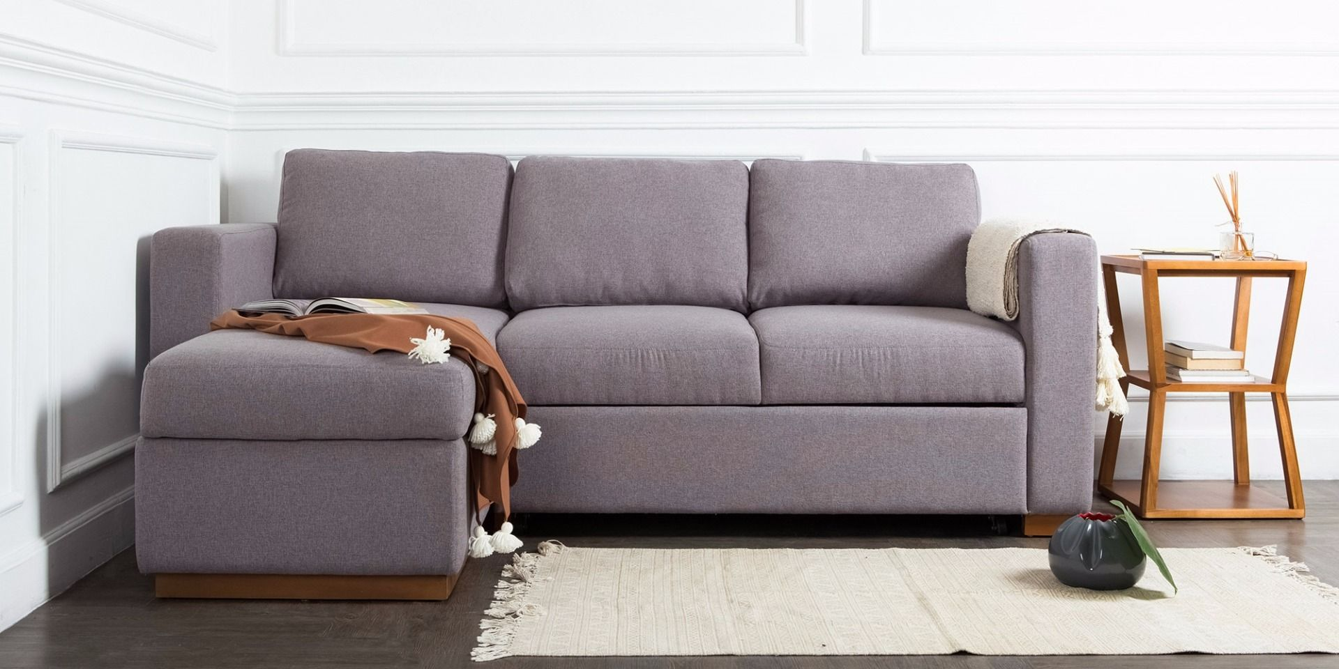 Sofa L Taby Bed Mid Grey Left With Storage Tempat Tidur Laci