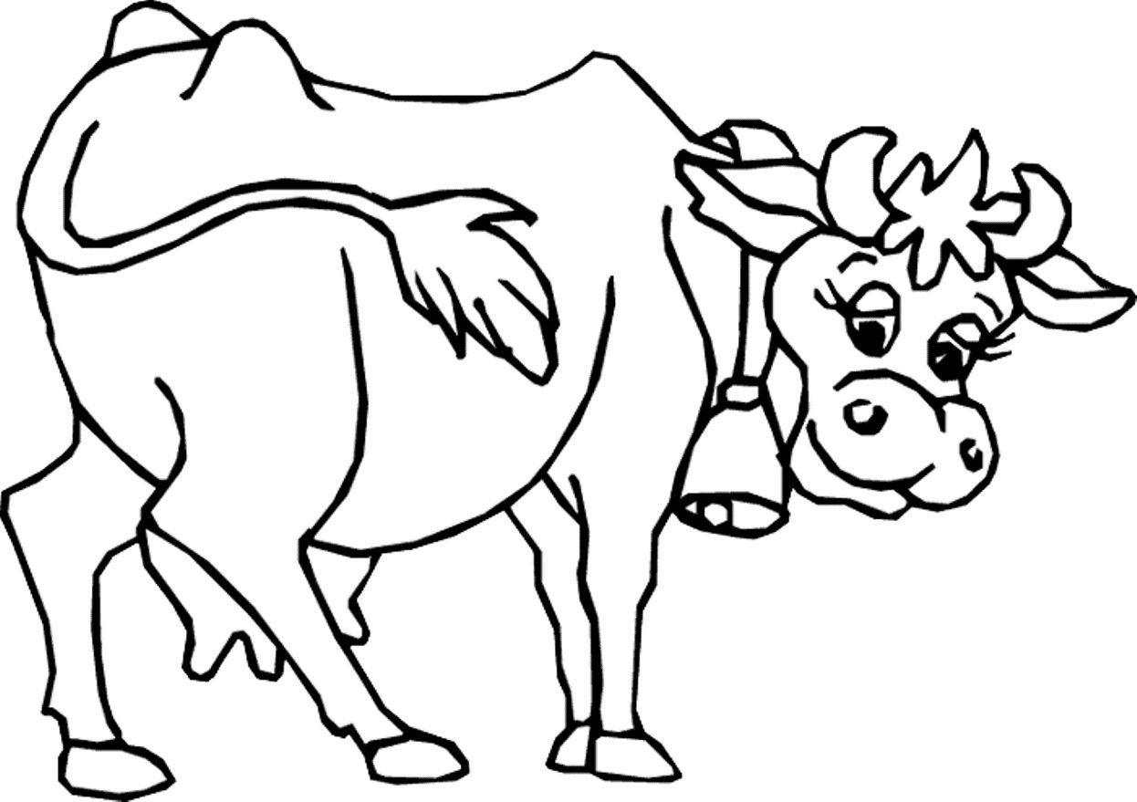 Cow Coloring Pages Free Printable Jpg 1246 879 Skole Tyren