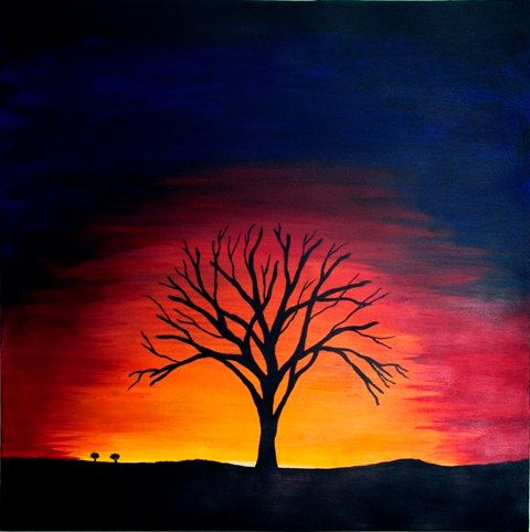Tree Silhouette And Sunset Background Beginner Painting Idea