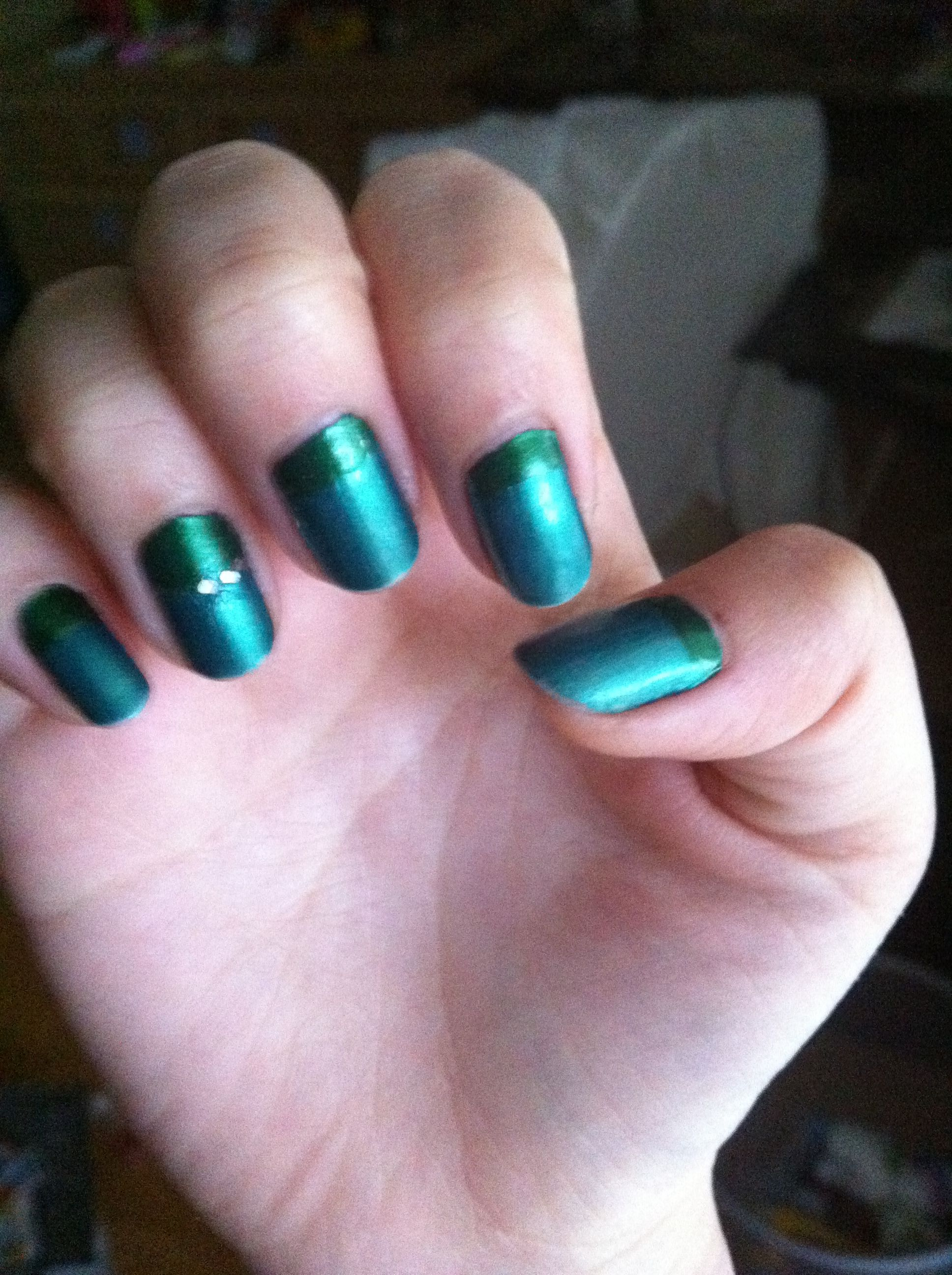 Two tone nails with a line of glitter on the fourth nail. I did ...