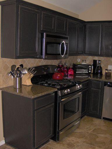 Antique Distressed Black Cabinets Black Kitchen Cabinets
